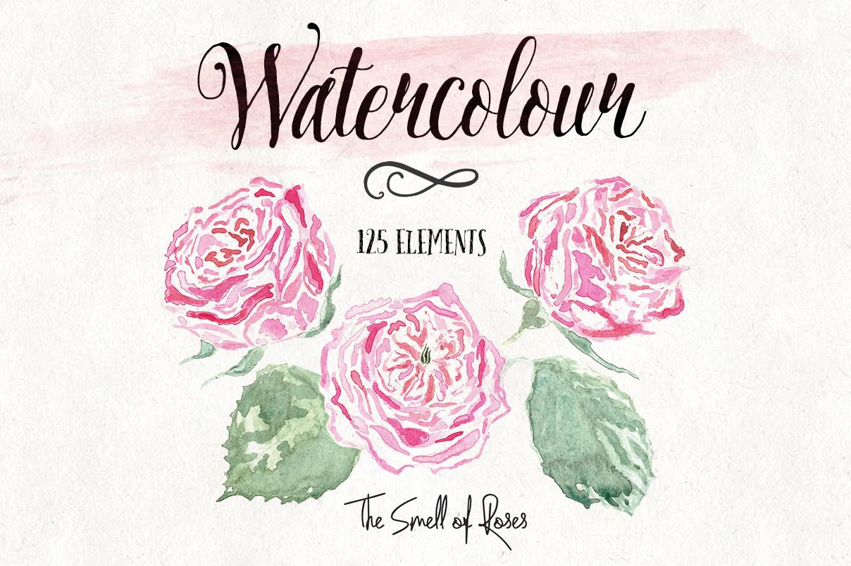 Flower Clip Art, watercolor flower, watercolour art, watercolor free, watercolor png, freebie, free download, roses, flowers, the smell of roses