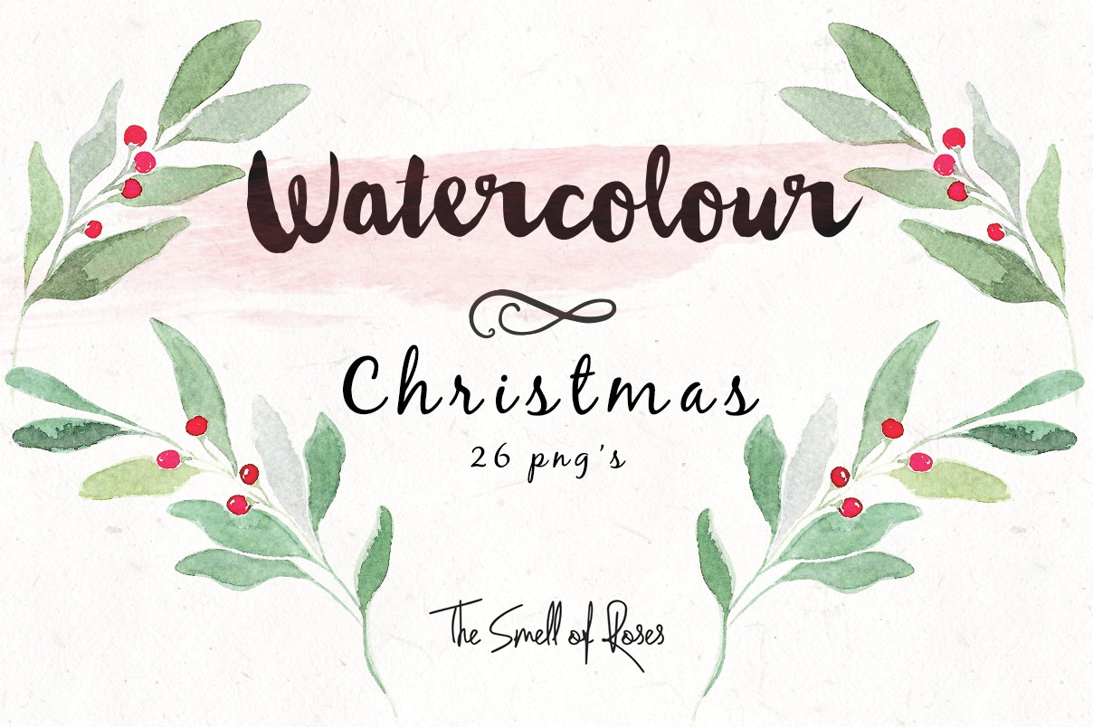 Free christmas watercolour flowers and wreaths, xmas freebie, christmas freebie, diy cards