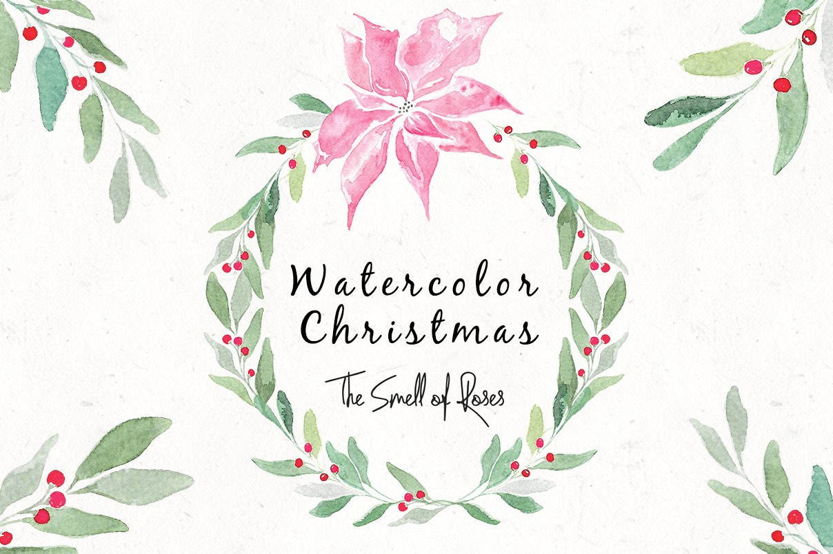 Free christmas watercolour flowers and wreaths, free clip art, xmas images, christmas images free,